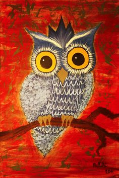 "Saatchi Online Artist: Melike Akdamar; Acrylic, 2011, Painting ""Owl""  Alexia should try painting this"