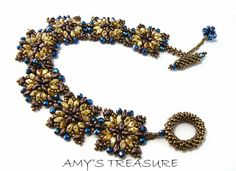 Amy's Treasures, beatiful matte gold and blue superduo beaded bracelet.