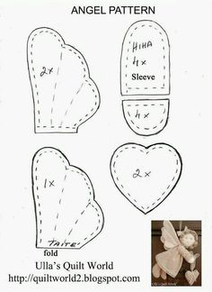 ***Quilted Angel*** Ulla Quilt World: Free Doll Patterns and Tutorials Angel Crafts, Xmas Crafts, Felt Crafts, Fabric Crafts, Sewing Crafts, Felt Patterns, Stuffed Toys Patterns, Sewing Patterns, Angel Ornaments