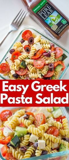 Easy Greek Pasta Salad with a homemade vinaigrette, pasta, feta, and olives is the perfect, easy lunch meal you can enjoy. #PureLeafLunchBox #RealBrewedTea #AD @pureleaf
