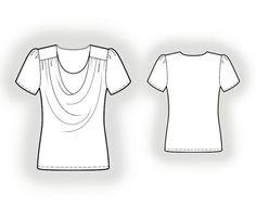 Tricot blouse, jersey top patroon maatpatroon. Grote maat patroontekenen. http://maatpatronen.nl/mod-p.php?t=0&mod=4039