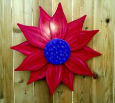 Giant Wooden Flower  Red and Purple by SallysWoodcrafts on Etsy, $45.00