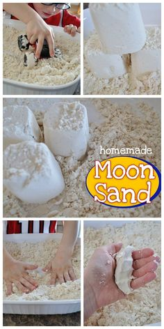 Perfect rainy day kid craft! This DIY homemade moon sand recipe only takes 2 ingredients that you already have on hand. My toddler will be entertained with moonsand for hours!