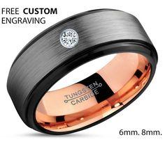 Black Tungsten Ring, 18k Rose Gold Black Band, Black Wedding Bands, White Diamond Mens Wedding Band, Men Wedding Band,Tungsten Carbide  B.