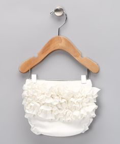 Take a look at this Off-White Knit Ruffle Diaper Cover - Infant by Swank Kouture on #zulily today!