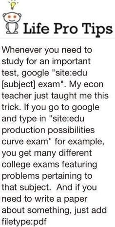 Using the Internet to find exams for a particular subject; good for researching papers to write, too.
