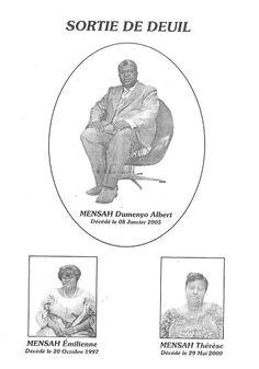 Carte faipart des cérémonies de sortie de deuil de ma mére,ma petite tante Emilienne MENSAH et de mon grand-pere DUMENYON ALBERT MENSAH