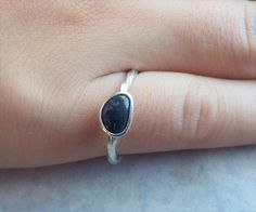Solid Black Opal Ring featuring Bright Purple by AllAussieOpals