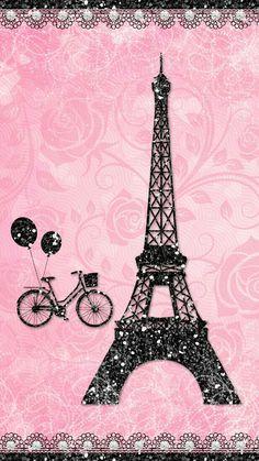 Pink Sparkly Paris Eiffel Wallpaper