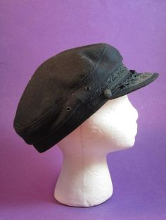 b7383b6e298c7 Vtg Tsalavoutas Bros Greek Fishermans Cap Breton Black Wool Mens Hat Size 7  3 4
