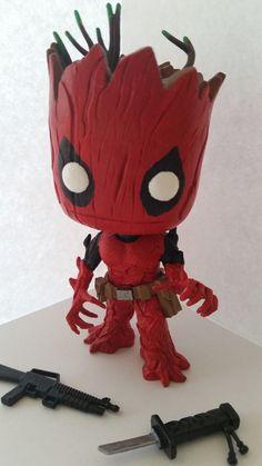 Funko Pop Groot Deadpool 49 Dbeck Customs Interchangeable Weapons | eBay