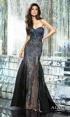 Alyce Black Label 5548 Lace Tulle Evening Dress image