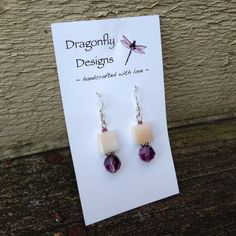 Sterling Silver Purple Swarovski and Shell by dragonflydesigns01, $14.00
