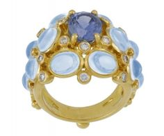 bubble ring with blue moonstone (12.94ct), blue sapphire (3.28ct) and diamond (0.53ct) by Temple St Clair