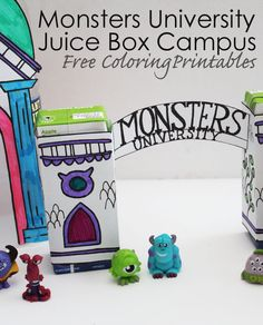 Monsters University Juice Box Campus - Free Coloring Printables