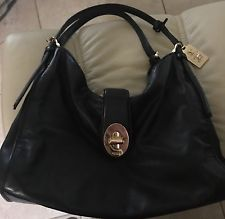 Coach Madison Carlyle Black Leather Shoulder Handbag 32221 Excellent Condition