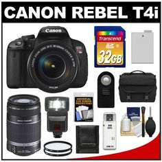 Canon EOS Rebel T4i Digital SLR Camera Body & EF-S 18-135mm IS STM Lens with 55-250mm IS Lens + 32GB Card + Flash + Battery + Case + Filters + Accessory Kit by Canon. $1148.00. Kit includes:♦ 1) Canon EOS Rebel T4i Digital SLR Camera & EF-S 18-135mm IS STM Lens♦ 2) Canon EF-S 55-250mm f/4.0-5.6 IS II Lens♦ 3) Transcend 32GB Class 10 SDHC Card♦ 4) Spare LP-E8 Battery♦ 5) 67mm UV Filter♦ 6) 58mm UV Filter♦ 7) Vivitar RC-6 Wireless Remote♦ 8) Precision Design ...