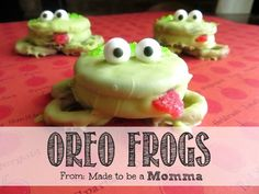 Oreo Frogs! White chocolate tinted green? Oreos, pretzels, candy googly eyes, and red candy for tongue. I think i could make these without them looking like green alligator blobs.
