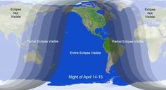 This NASA graphic shows where the total lunar eclipse of April 14-15, 2014 will be visible from. The lunar eclipse coincides with April's full moon and is the first of four total lunar eclipes (a tetrad) between April 2014 and September 2015.