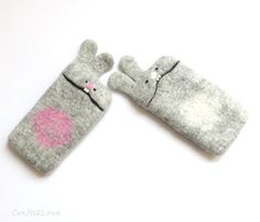 Cute minimalist design for iPhone case. Made in eco-friendly way by traditional wet felting.    Soft and cozy this bunny will keep your phone safe from scratches and soften possible falls. Nice unique gift!    More phone cases available on request! Choose one for your custom phone - just let me know your phones model in note to seller or convo!    Main color: Grey - undyed Australian merino wool.    Choosing added color will get you this bunnys nose, tail and tummy with added color :)…