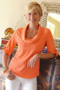 Love her hair,,,  Madison Tee - Orange Cowl Neck Tee, Tops, Clothing | Soft Surroundings