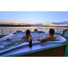 Sunset by the jacuzzi onboard the Anakonda Amazon Cruise Regram thanks to @anakondaec Explore #Quito the #AmazonRainforest & #Galapagos as part of the Luxe Ecuador Escape Tour http://ift.tt/1QwWxzM OR click on the link in bio