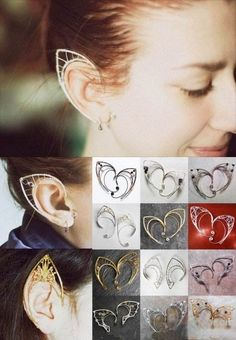 "Swope, ALL KINDS of Elf Ear-cuffs. I'm sure at least one of these would be ""wood elf"" ; Wire Jewelry, Jewelery, Handmade Jewelry, Elf Ear Cuff, Ear Cuffs, Elf Ears, Ear Earrings, Looks Cool, Piercings"