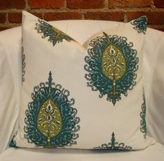 "18"" x 18"" Turquoise, olive and cream medallion print pillow cover"