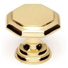 Polished Brass 1 Inch Knob Alno, Inc. Knob Round Cabinet Hardware & Knobs Kitchen
