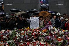 The Armenian Genocide Centennial commemoration ceremony at Tsitsernakaberd Memorial.
