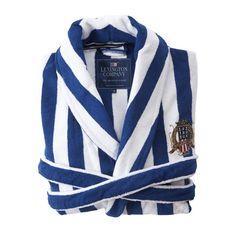So smart :) Discover the Lexington Unisex White/Blue Stripe Bathrobe at Amara