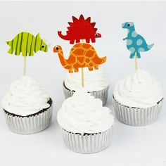 Dinosaur Party cupcake toppers picks decoration for kids birthday party favors Decoration supplies Wholesale