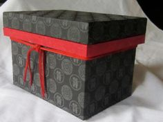 Black Kanji Happiness Washi Paper Covered Traditional Japanese Wooden Medium Size 1K Tea Box with Metal Lining and red leather tie.