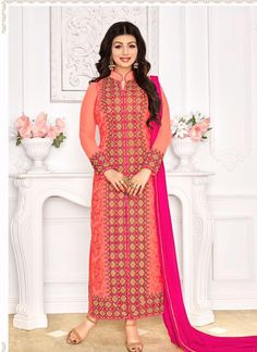 Ayesha Takia Peach Colour Georgette Embroidery Work Designer Suit with Best Price & Best Quality,Cash on Delivery. Bollywood Suits, Bollywood Dress, Bollywood Fashion, Bollywood Style, Designer Suits Online, Designer Salwar Suits, Eid Outfits, Indian Outfits, Wedding Salwar Suits