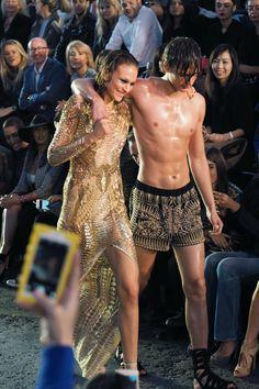 Metallics and model issues at Julien McDonald at London Fashion Week Spring Summer 2016