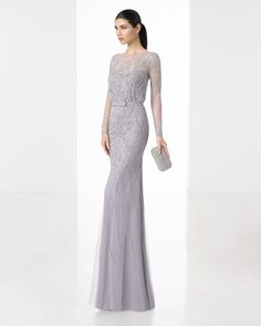 Long lightweight beaded embroidery dress with long sleeves, boat neckline and V-back, in mocha, silver and navy blue/nude.