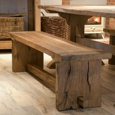Baby Reclaimed Oak Monastery Dining Bench