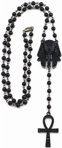 LOVES OT..AOLT!!!!  Pharaoh/Ankh Iced Out New Style Rosary Black Color 31 Inch Necklace Positive Spirit Magic Power Circle Egyptian Positive Power Of Joyous Life