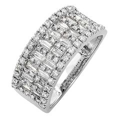 16cef4d5799 0.98 Carat (ctw) 14K Gold Round   Baguette Cut Diamond Ladies Anniversary Wedding  Band