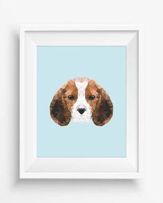 Beagle Print,Cute Dog,Polygonal Beagle,Geometric Beagle Head Art Wall Print,Beagle Art, Low Poly,Geometric Animal Prints, Beagle Head