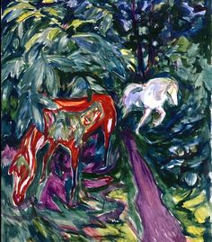 Two Horses in the Forest Edvard Munch - 1926