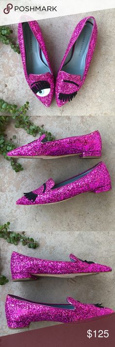 """Chiara Ferragni Winking Eye Glitter Purple Flats Amazing ultra violet glitter flats with pointed toes by designer Chiara Ferragni. In excellent condition save some scuffing around the top (see close ups). Size EU 37/US 7. Small 0.75"""" heel. So fun! Chiara Ferragni Shoes Flats & Loafers"""