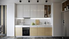 Wood Strips on Behance Cama Design, Custom Kitchens, Wood Slats, Living Styles, White Paneling, Cuisines Design, Interior Design Kitchen, Kitchen Furniture, Kitchen Cabinets