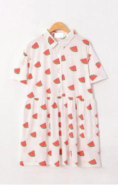 Lapel Short Sleeves Cotton Watermelon Print Dress