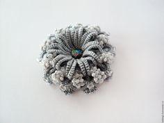 Купить Брошь Северная звезда - серебряный, серый, брошь ручной работы, брошь кружевная, фриволите