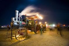 Train at the Burning Man festival.