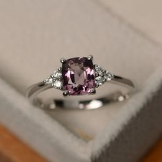Natural spinel ring unique pink gemstone ring sterling