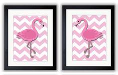 INSTANT DOWNLOAD Pink Flamingo Pair Art Child Art Nursery Art Print Set of 2 Girls Pink Kids Room Wall Art Decor Nursery Baby on Etsy, $10.00