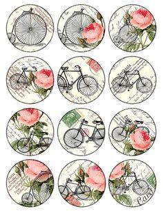 imágenes de gran círculo bicicletas y rosas Vintage para por 300dpi