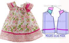 MOLDE VESTIDO INFANTIL FLORAL -2 - Moldes Moda por Medida